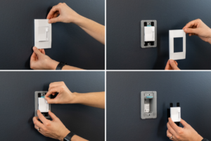 Person installing deako light switch collage