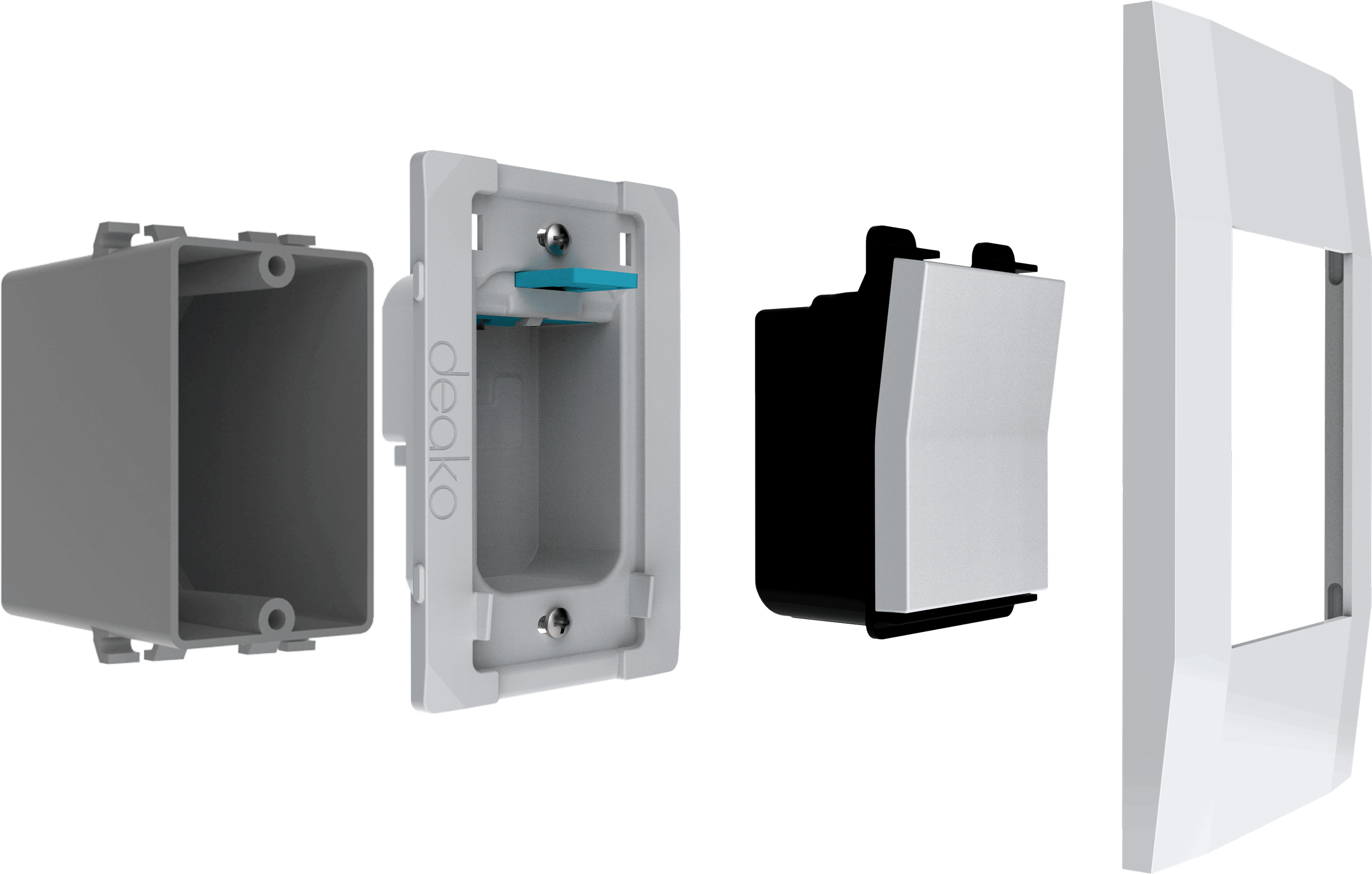 The Deako base system shown split apart into its three components.